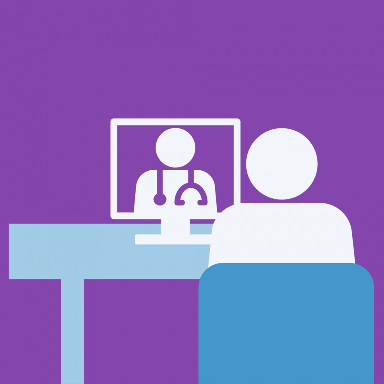 Purple background with a graphic featuring a medical provider and patient in a telehealth visit.
